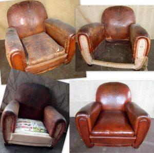 Étapes de restauration d'un fauteuil club ancien avec son cuir d ..