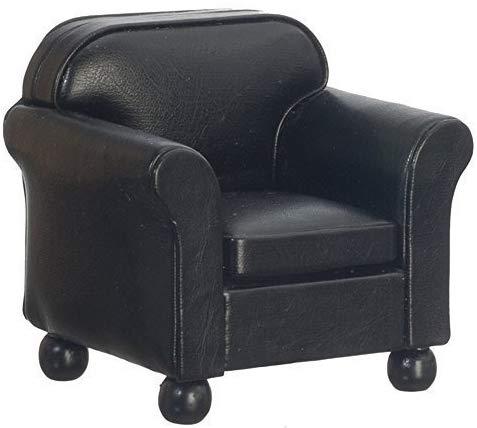 Melody Jane Cuir Noir Fauteuil Club Chaise Miniature Living Room Furniture